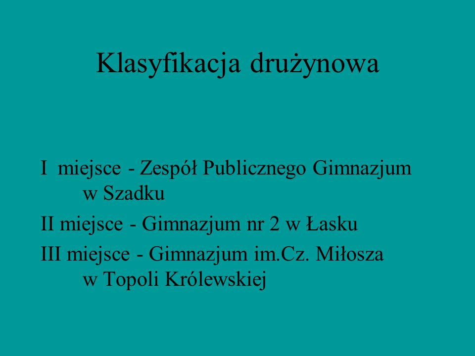 Klasyfikacja drużynowa I miejsce - Zespół Publicznego Gimnazjum w Szadku II miejsce - Gimnazjum nr 2 w Łasku III miejsce - Gimnazjum im.Cz. Miłosza w