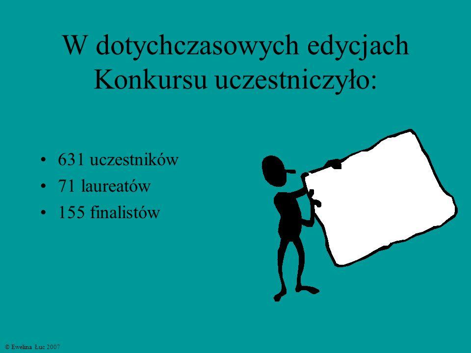 W dotychczasowych edycjach Konkursu uczestniczyło: 631 uczestników 71 laureatów 155 finalistów © Ewelina Łuc 2007