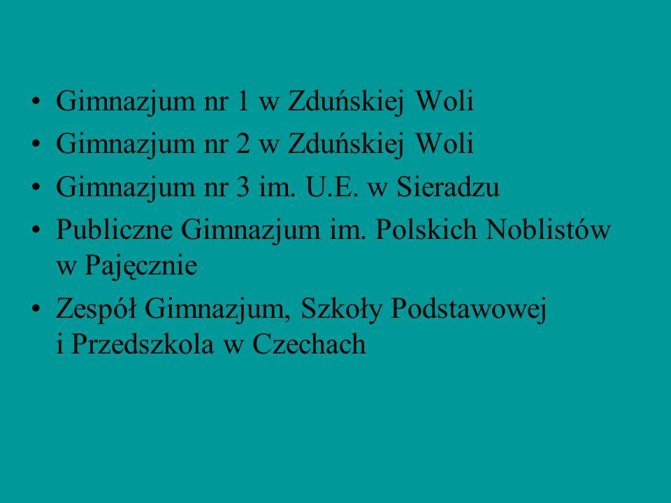 Gimnazjum nr 1 w Zduńskiej Woli Gimnazjum nr 2 w Zduńskiej Woli Gimnazjum nr 3 im. U.E. w Sieradzu Publiczne Gimnazjum im. Polskich Noblistów w Pajęcz