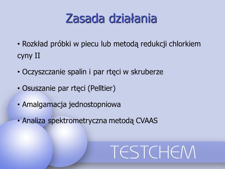 Zasada działania Rozkład próbki w piecu lub metodą redukcji chlorkiem cyny II Oczyszczanie spalin i par rtęci w skruberze Osuszanie par rtęci (Pelltie