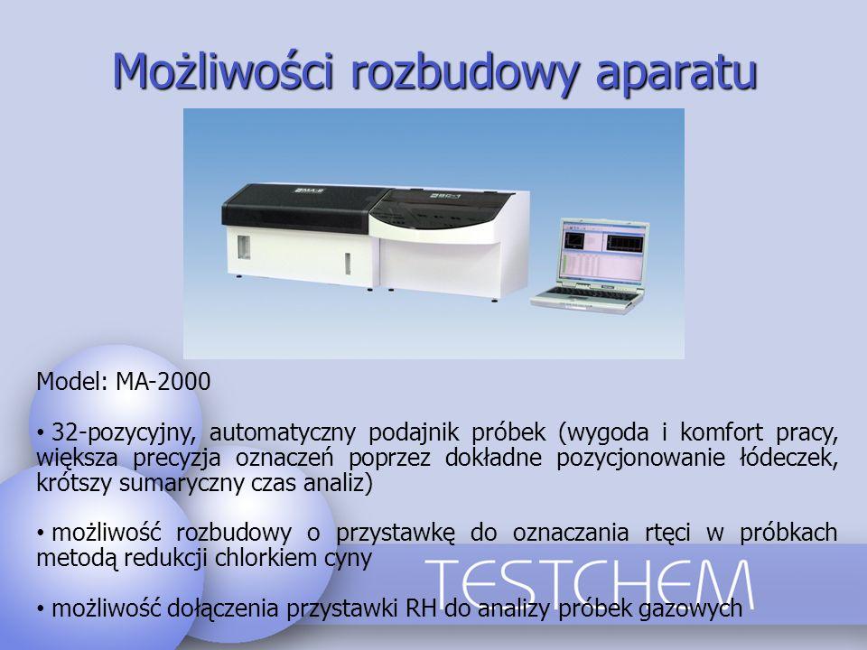 Możliwości rozbudowy aparatu Model: MA-2000 32-pozycyjny, automatyczny podajnik próbek (wygoda i komfort pracy, większa precyzja oznaczeń poprzez dokł