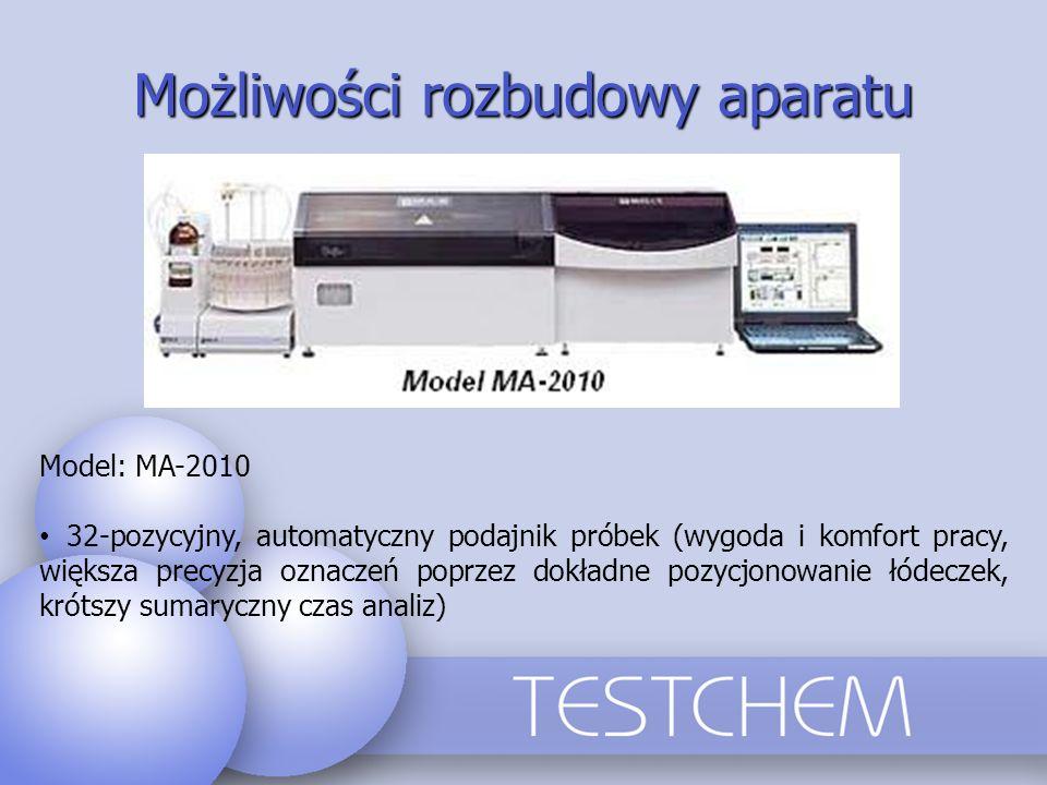Możliwości rozbudowy aparatu Model: MA-2010 32-pozycyjny, automatyczny podajnik próbek (wygoda i komfort pracy, większa precyzja oznaczeń poprzez dokł
