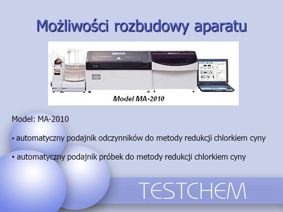 Możliwości rozbudowy aparatu Model: MA-2010 automatyczny podajnik odczynników do metody redukcji chlorkiem cyny automatyczny podajnik próbek do metody