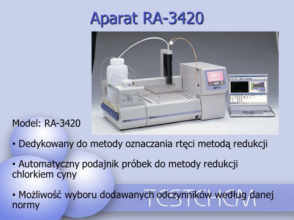 Aparat RA-3420 Model: RA-3420 Dedykowany do metody oznaczania rtęci metodą redukcji Automatyczny podajnik próbek do metody redukcji chlorkiem cyny Moż