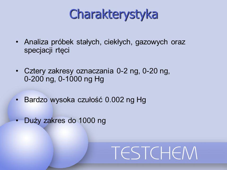 Charakterystyka Analiza próbek stałych, ciekłych, gazowych oraz specjacji rtęci Cztery zakresy oznaczania 0-2 ng, 0-20 ng, 0-200 ng, 0-1000 ng Hg Bard