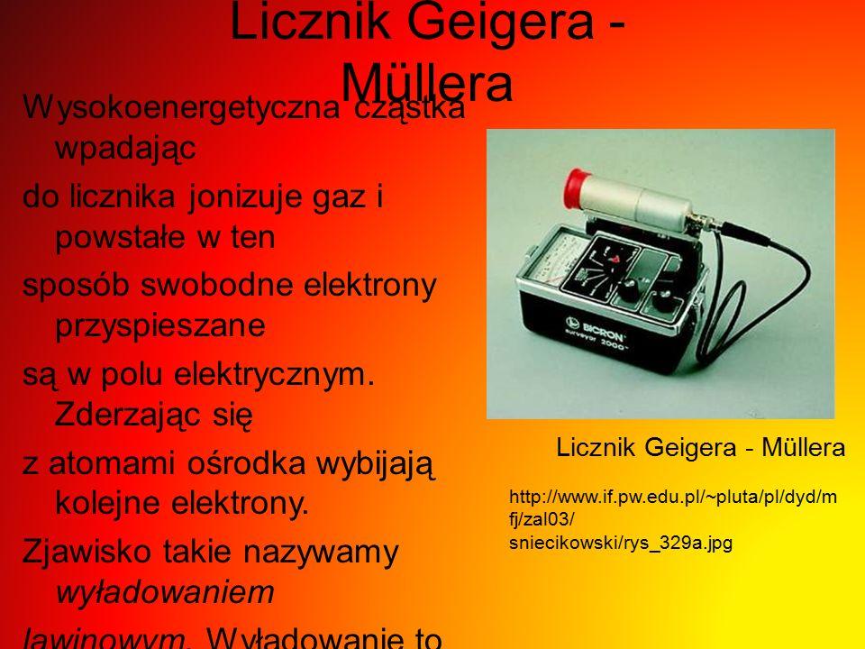 Licznik Geigera - Müllera Wysokoenergetyczna cząstka wpadając do licznika jonizuje gaz i powstałe w ten sposób swobodne elektrony przyspieszane są w p