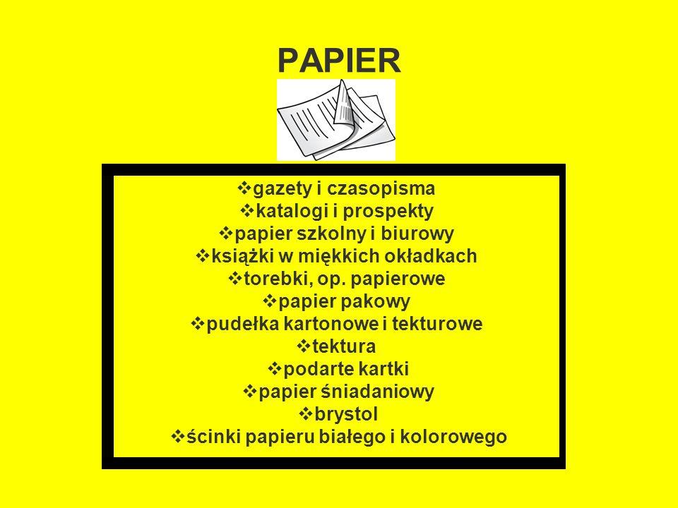 PAPIER  gazety i czasopisma  katalogi i prospekty  papier szkolny i biurowy  książki w miękkich okładkach  torebki, op. papierowe  papier pakowy