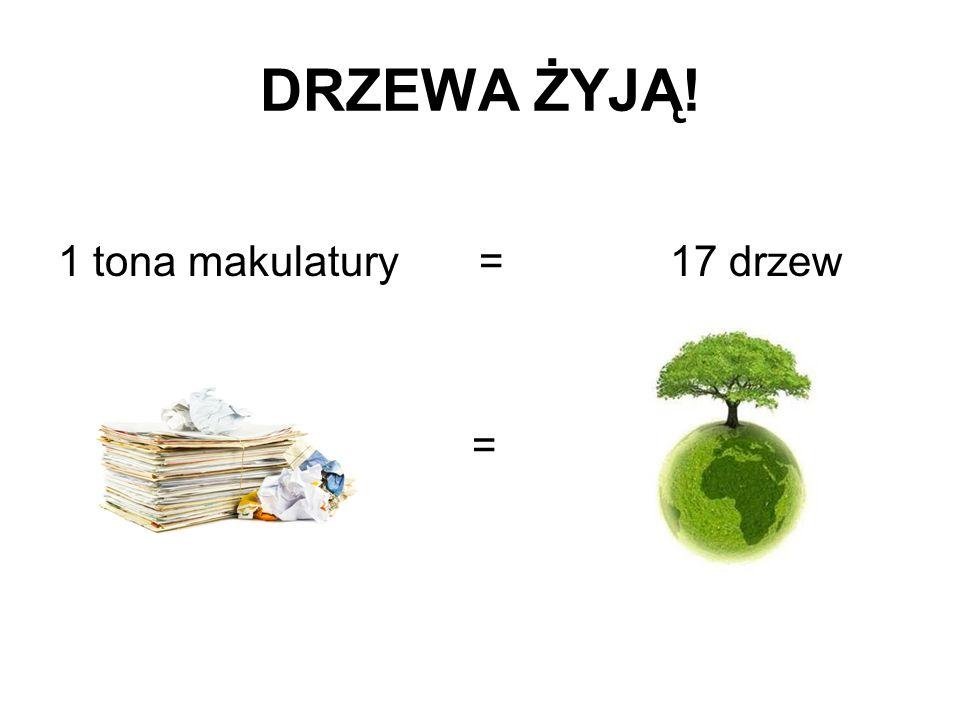 DRZEWA ŻYJĄ! 1 tona makulatury = 17 drzew =