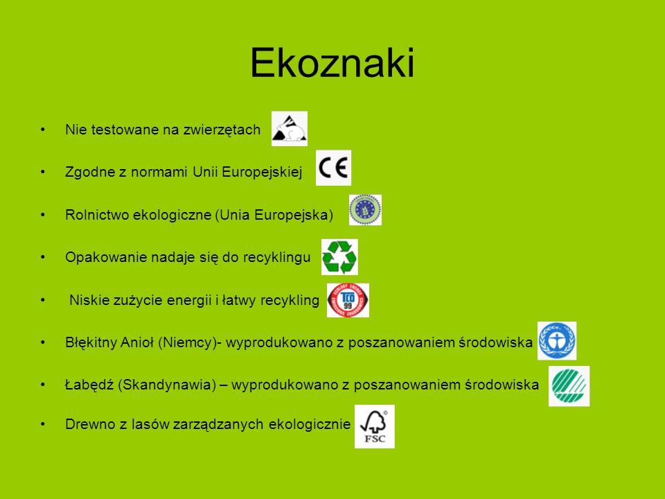 Ekoznaki Nie testowane na zwierzętach Zgodne z normami Unii Europejskiej Rolnictwo ekologiczne (Unia Europejska) Opakowanie nadaje się do recyklingu N