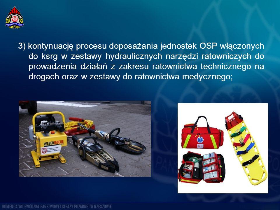 3) kontynuację procesu doposażania jednostek OSP włączonych do ksrg w zestawy hydraulicznych narzędzi ratowniczych do prowadzenia działań z zakresu ratownictwa technicznego na drogach oraz w zestawy do ratownictwa medycznego;
