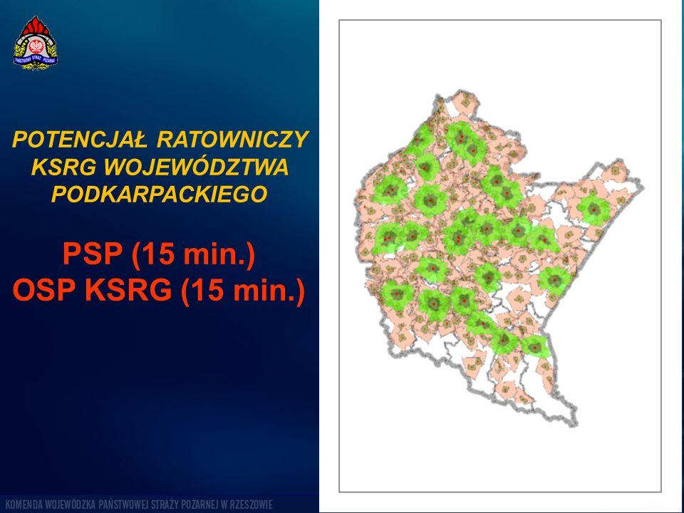 POTENCJAŁ RATOWNICZY KSRG WOJEWÓDZTWA PODKARPACKIEGO PSP (15 min.) OSP KSRG (15 min.)