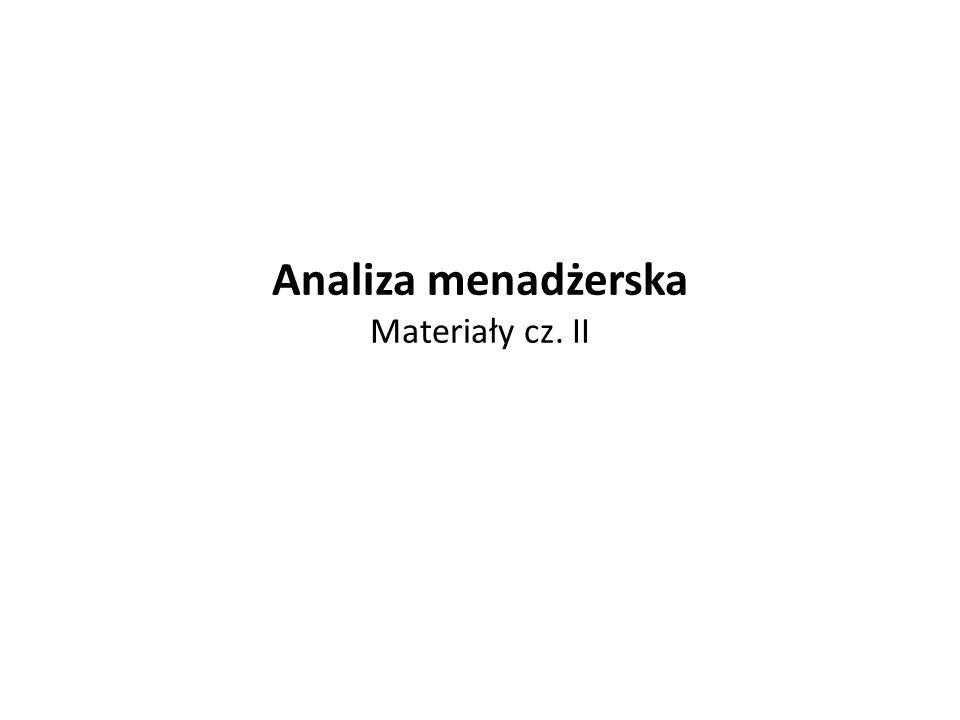 Analiza menadżerska Materiały cz. II