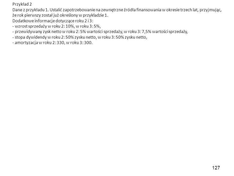 127 Przykład 2 Dane z przykładu 1.