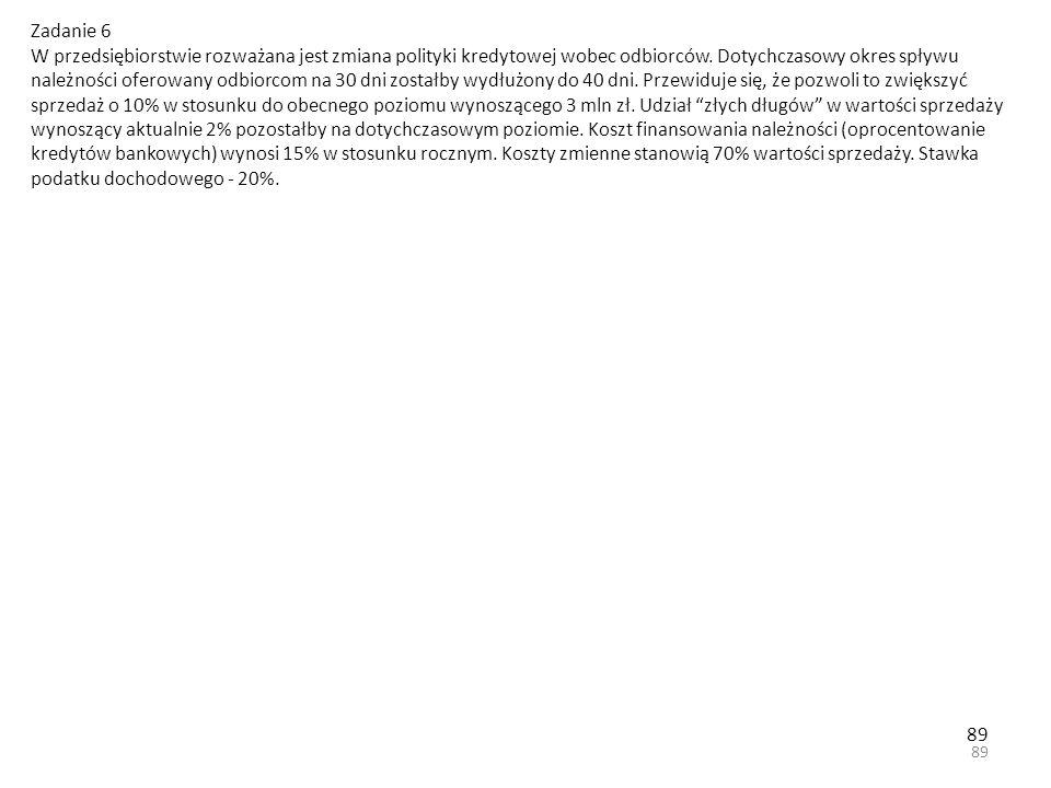 89 Zadanie 6 W przedsiębiorstwie rozważana jest zmiana polityki kredytowej wobec odbiorców.