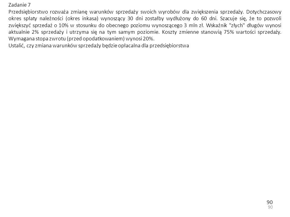 90 Zadanie 7 Przedsiębiorstwo rozważa zmianę warunków sprzedaży swoich wyrobów dla zwiększenia sprzedaży.