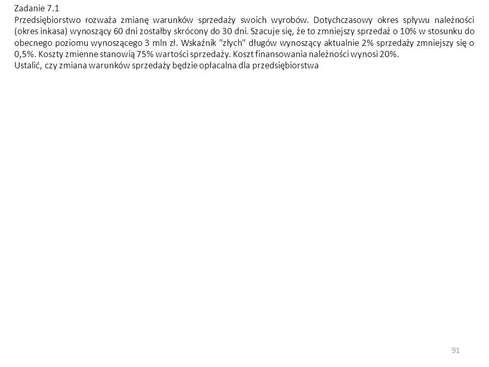 91 Zadanie 7.1 Przedsiębiorstwo rozważa zmianę warunków sprzedaży swoich wyrobów.