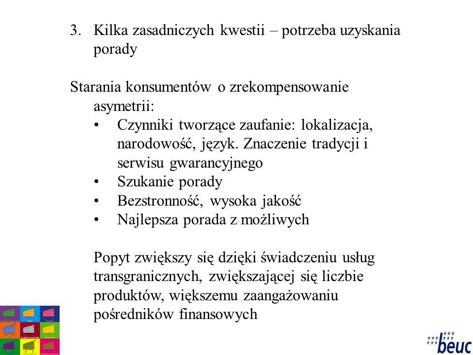 3.Kilka zasadniczych kwestii – potrzeba uzyskania porady Starania konsumentów o zrekompensowanie asymetrii: Czynniki tworzące zaufanie: lokalizacja, narodowość, język.