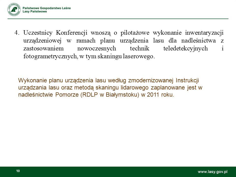 10 Wykonanie planu urządzenia lasu według zmodernizowanej Instrukcji urządzania lasu oraz metodą skaningu lidarowego zaplanowane jest w nadleśnictwie Pomorze (RDLP w Białymstoku) w 2011 roku.