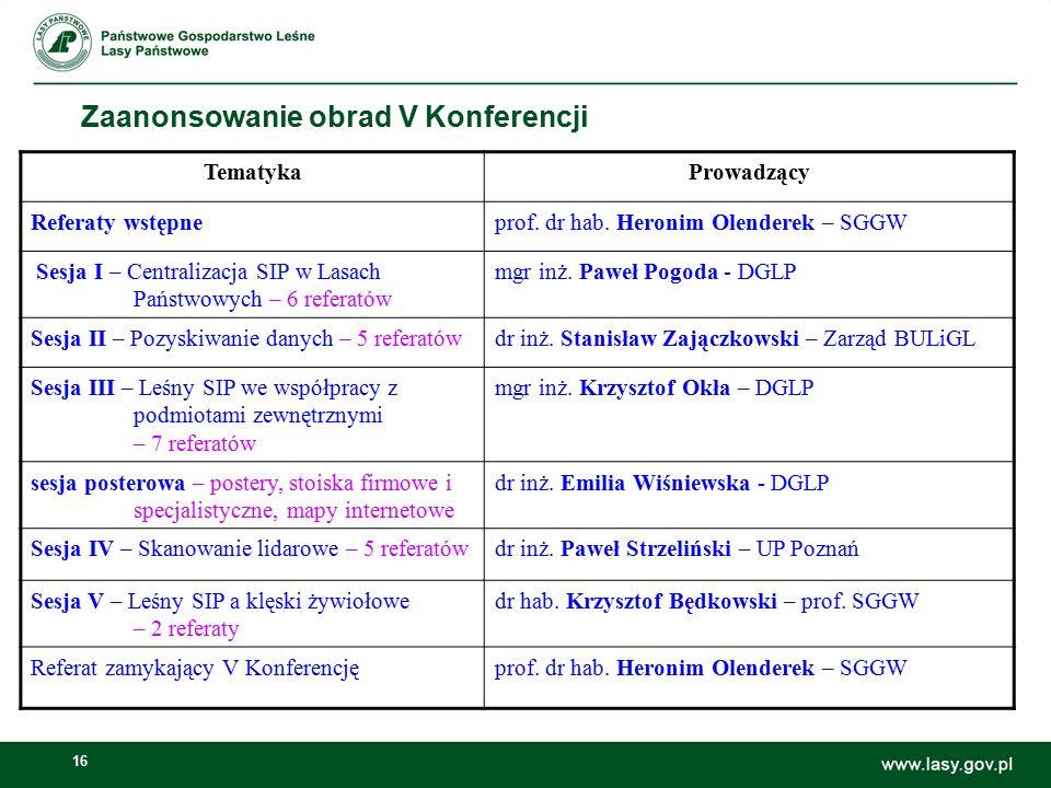 16 Zaanonsowanie obrad V Konferencji TematykaProwadzący Referaty wstępneprof. dr hab. Heronim Olenderek – SGGW Sesja I – Centralizacja SIP w Lasach Pa