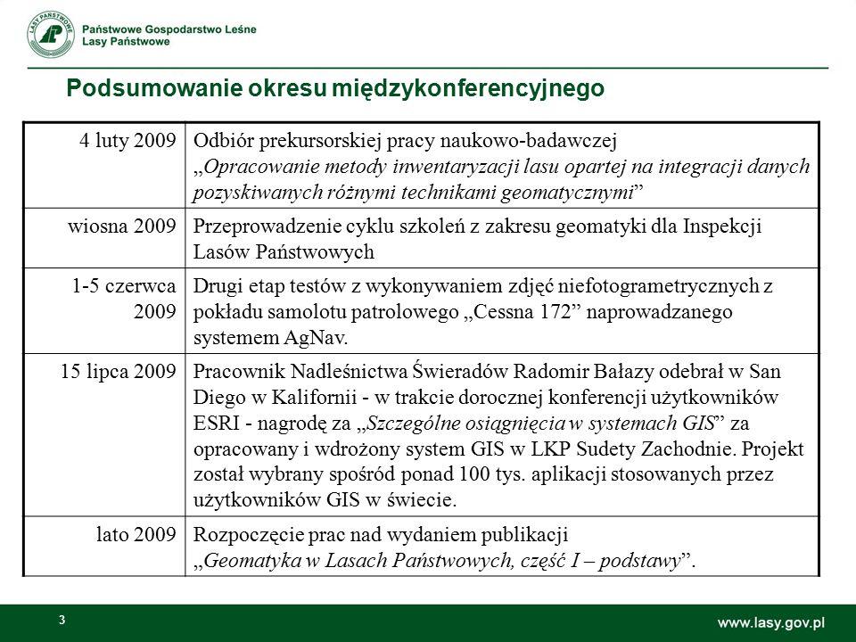 """3 Podsumowanie okresu międzykonferencyjnego 4 luty 2009Odbiór prekursorskiej pracy naukowo-badawczej """"Opracowanie metody inwentaryzacji lasu opartej n"""