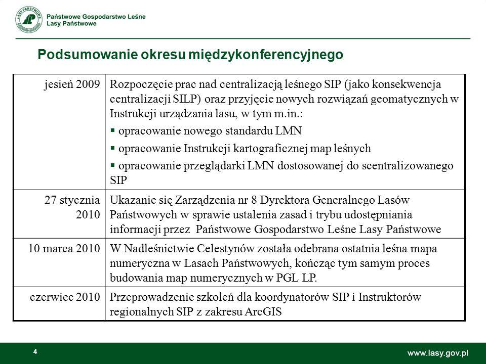 4 Podsumowanie okresu międzykonferencyjnego jesień 2009Rozpoczęcie prac nad centralizacją leśnego SIP (jako konsekwencja centralizacji SILP) oraz przyjęcie nowych rozwiązań geomatycznych w Instrukcji urządzania lasu, w tym m.in.:  opracowanie nowego standardu LMN  opracowanie Instrukcji kartograficznej map leśnych  opracowanie przeglądarki LMN dostosowanej do scentralizowanego SIP 27 stycznia 2010 Ukazanie się Zarządzenia nr 8 Dyrektora Generalnego Lasów Państwowych w sprawie ustalenia zasad i trybu udostępniania informacji przez Państwowe Gospodarstwo Leśne Lasy Państwowe 10 marca 2010W Nadleśnictwie Celestynów została odebrana ostatnia leśna mapa numeryczna w Lasach Państwowych, kończąc tym samym proces budowania map numerycznych w PGL LP.