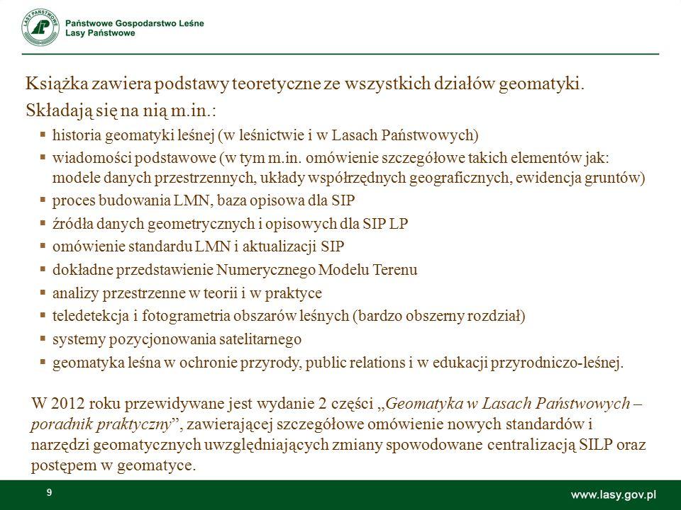 9 Książka zawiera podstawy teoretyczne ze wszystkich działów geomatyki. Składają się na nią m.in.:  historia geomatyki leśnej (w leśnictwie i w Lasac