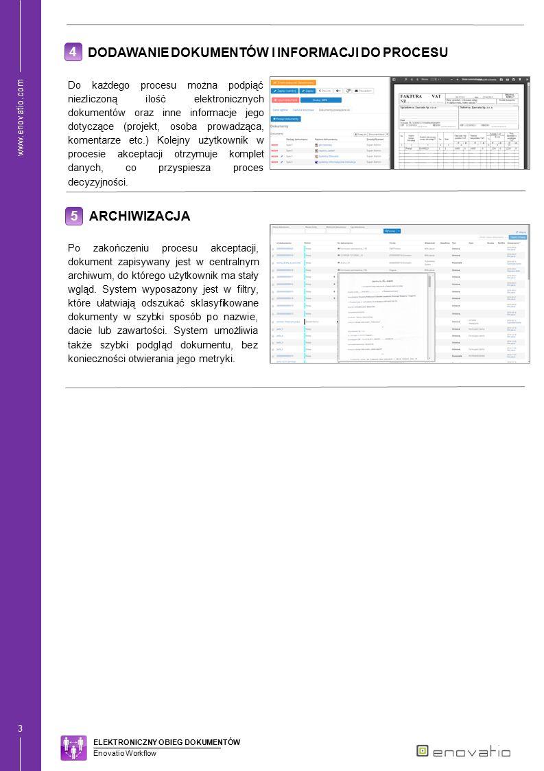 www.enovatio.com 4 1 PROCES OBIEGU FAKTURY KOSZTOWEJ System automatyzuje i wspomaga proces obiegu faktur kosztowych od momentu przyjęcia, aż po księgowanie i archiwizację.