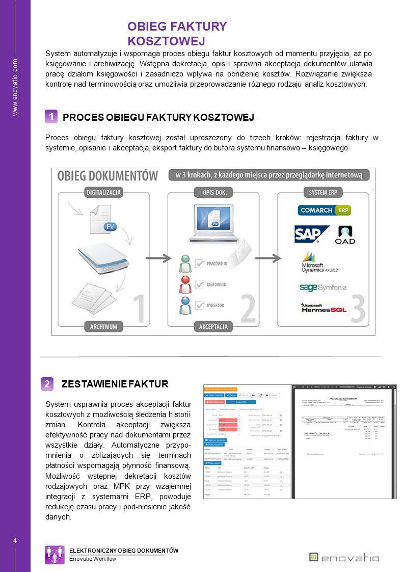 www.enovatio.com 4 1 PROCES OBIEGU FAKTURY KOSZTOWEJ System automatyzuje i wspomaga proces obiegu faktur kosztowych od momentu przyjęcia, aż po księgo