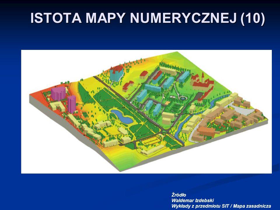 ISTOTA MAPY NUMERYCZNEJ (10) Źródło Waldemar Izdebski Wykłady z przedmiotu SIT / Mapa zasadnicza