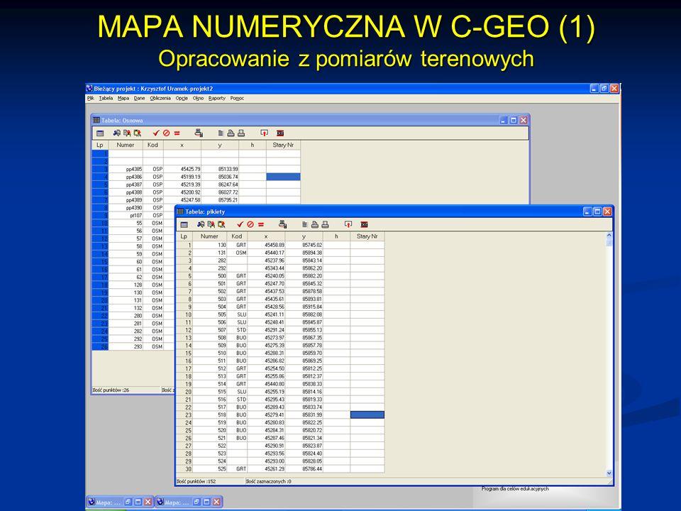 MAPA NUMERYCZNA W C-GEO (1) Opracowanie z pomiarów terenowych