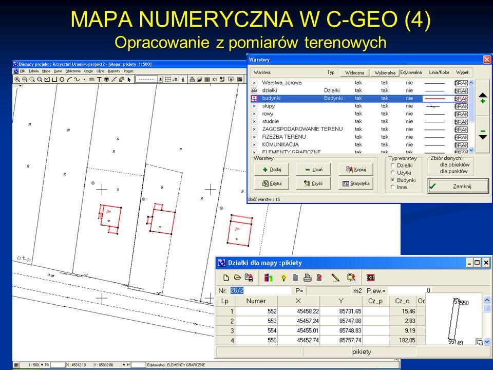 MAPA NUMERYCZNA W C-GEO (4) Opracowanie z pomiarów terenowych