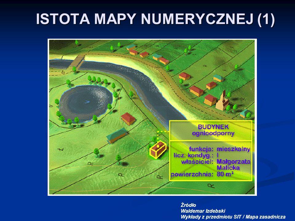 ISTOTA MAPY NUMERYCZNEJ (1) Źródło Waldemar Izdebski Wykłady z przedmiotu SIT / Mapa zasadnicza