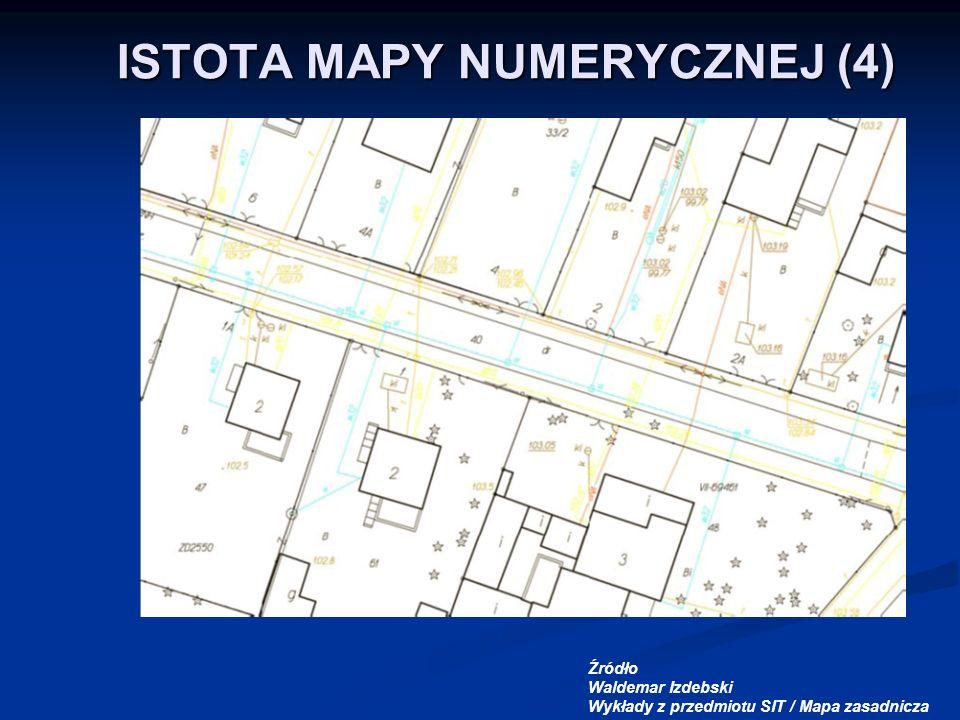 ISTOTA MAPY NUMERYCZNEJ (4) Źródło Waldemar Izdebski Wykłady z przedmiotu SIT / Mapa zasadnicza