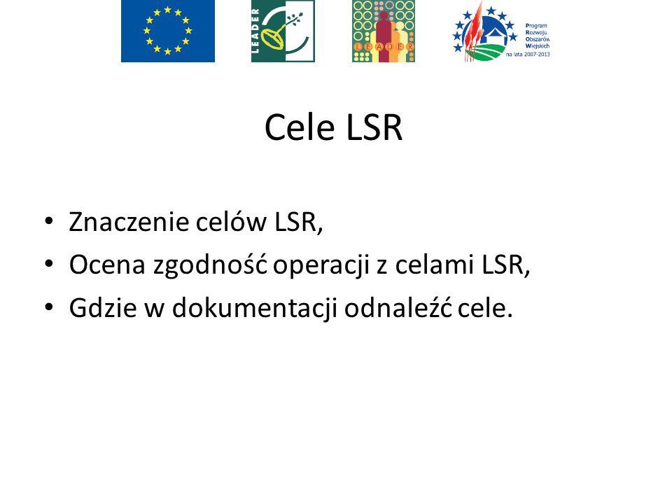 Cele LSR Znaczenie celów LSR, Ocena zgodność operacji z celami LSR, Gdzie w dokumentacji odnaleźć cele.