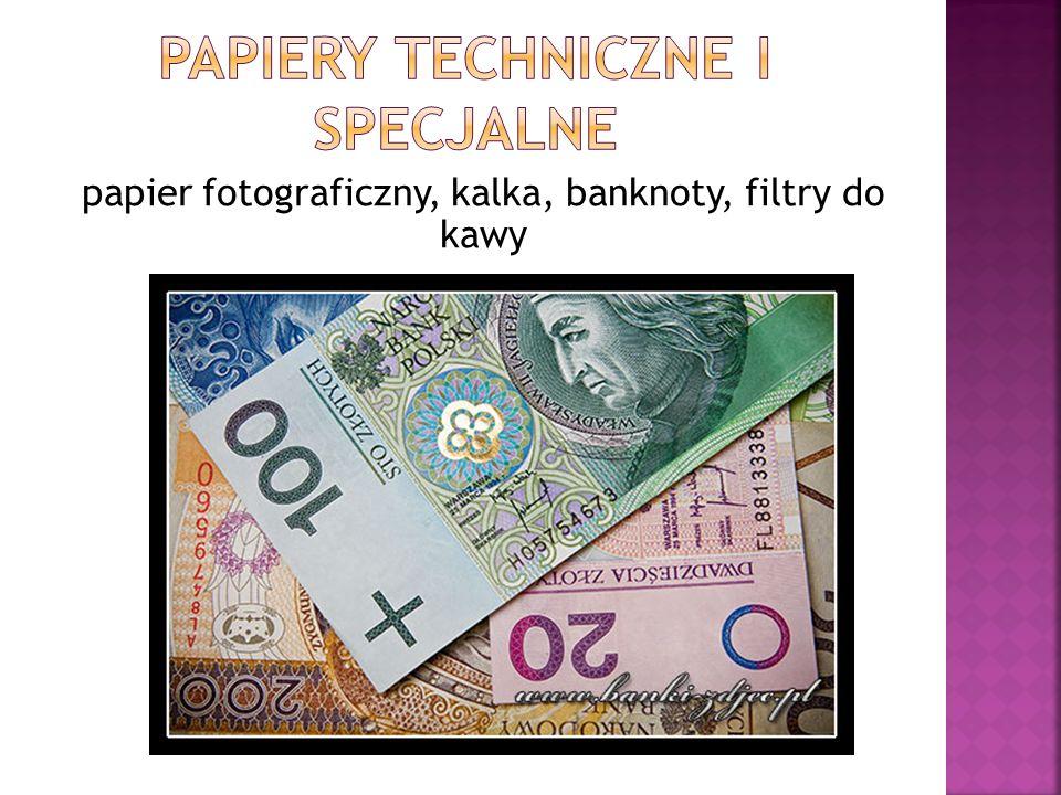 papier fotograficzny, kalka, banknoty, filtry do kawy