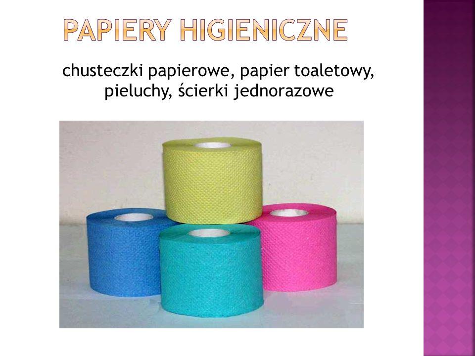 chusteczki papierowe, papier toaletowy, pieluchy, ścierki jednorazowe