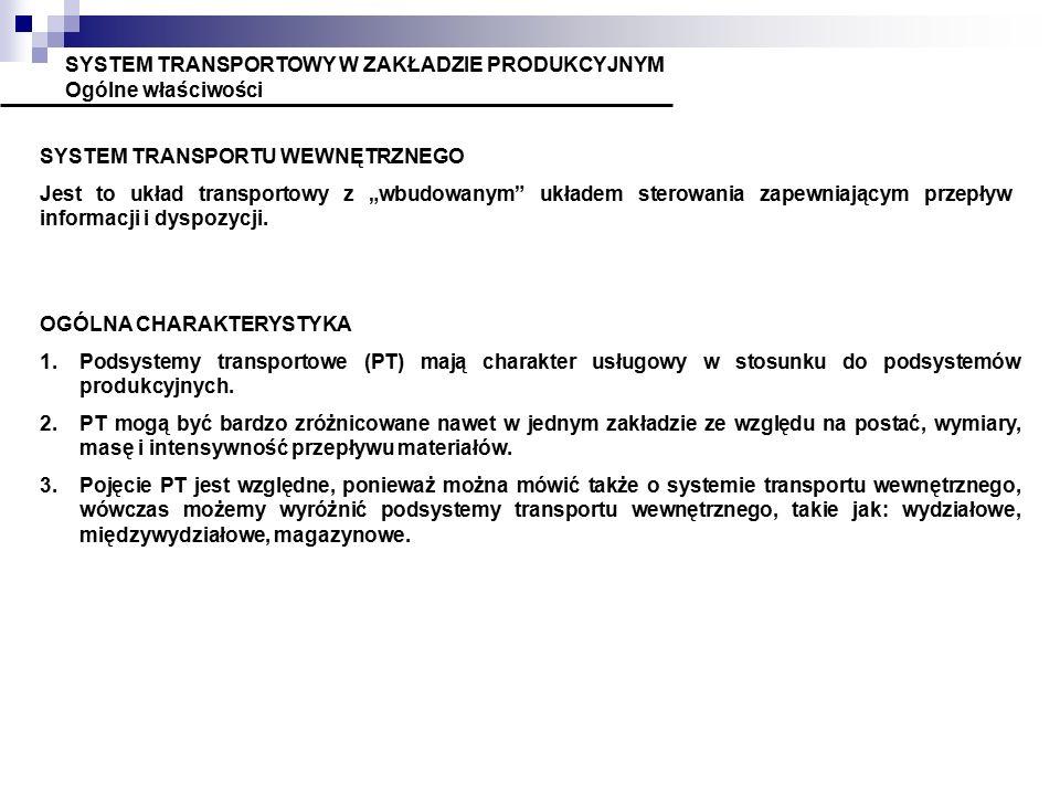 """SYSTEM TRANSPORTOWY W ZAKŁADZIE PRODUKCYJNYM Ogólne właściwości SYSTEM TRANSPORTU WEWNĘTRZNEGO Jest to układ transportowy z """"wbudowanym"""" układem stero"""