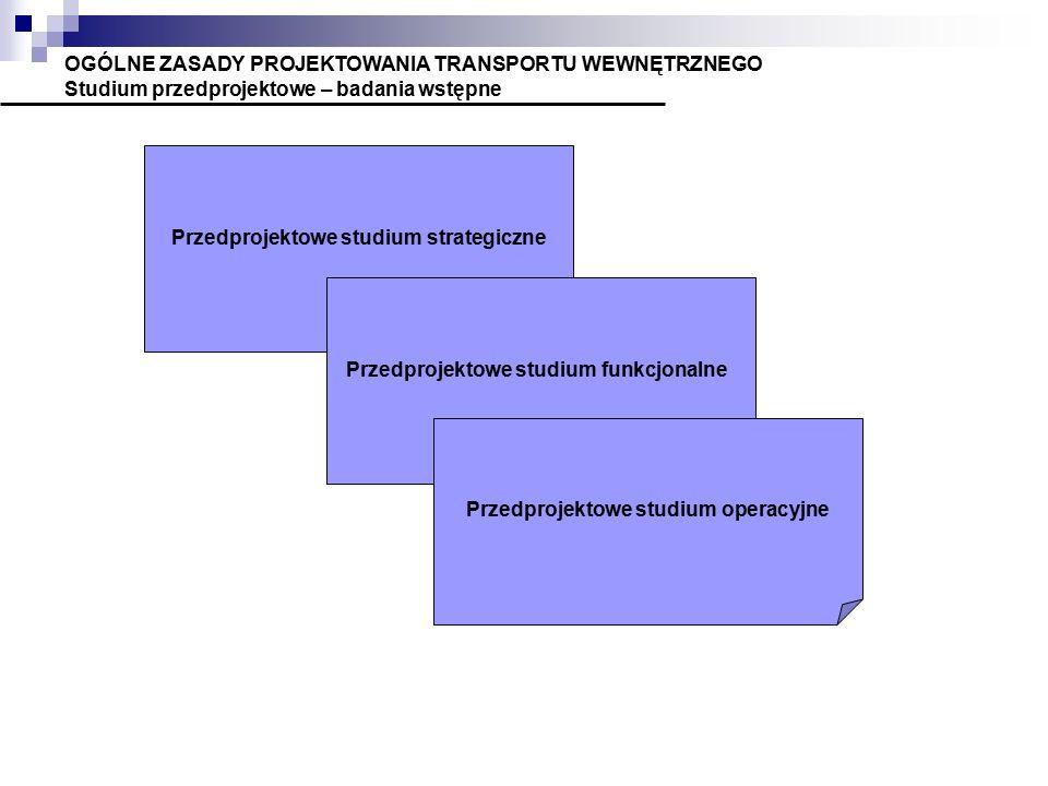 OGÓLNE ZASADY PROJEKTOWANIA TRANSPORTU WEWNĘTRZNEGO Studium przedprojektowe – badania wstępne Przedprojektowe studium strategiczne Przedprojektowe studium funkcjonalne Przedprojektowe studium operacyjne