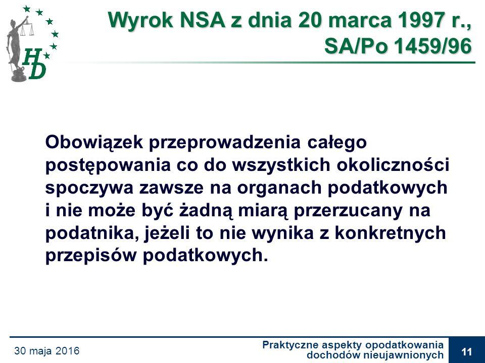 Praktyczne aspekty opodatkowania dochodów nieujawnionych 30 maja 2016 11 Wyrok NSA z dnia 20 marca 1997 r., SA/Po 1459/96 Obowiązek przeprowadzenia ca