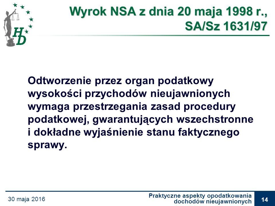 Praktyczne aspekty opodatkowania dochodów nieujawnionych 30 maja 2016 14 Wyrok NSA z dnia 20 maja 1998 r., SA/Sz 1631/97 Odtworzenie przez organ podat