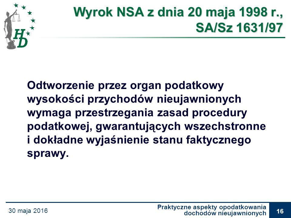Praktyczne aspekty opodatkowania dochodów nieujawnionych 30 maja 2016 16 Wyrok NSA z dnia 20 maja 1998 r., SA/Sz 1631/97 Odtworzenie przez organ podat