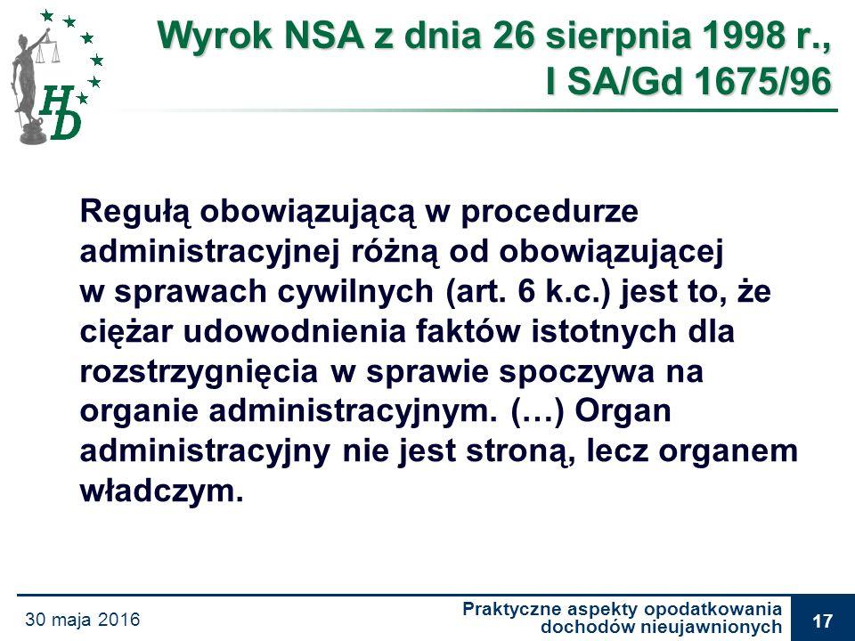 Praktyczne aspekty opodatkowania dochodów nieujawnionych 30 maja 2016 17 Wyrok NSA z dnia 26 sierpnia 1998 r., I SA/Gd 1675/96 Regułą obowiązującą w p
