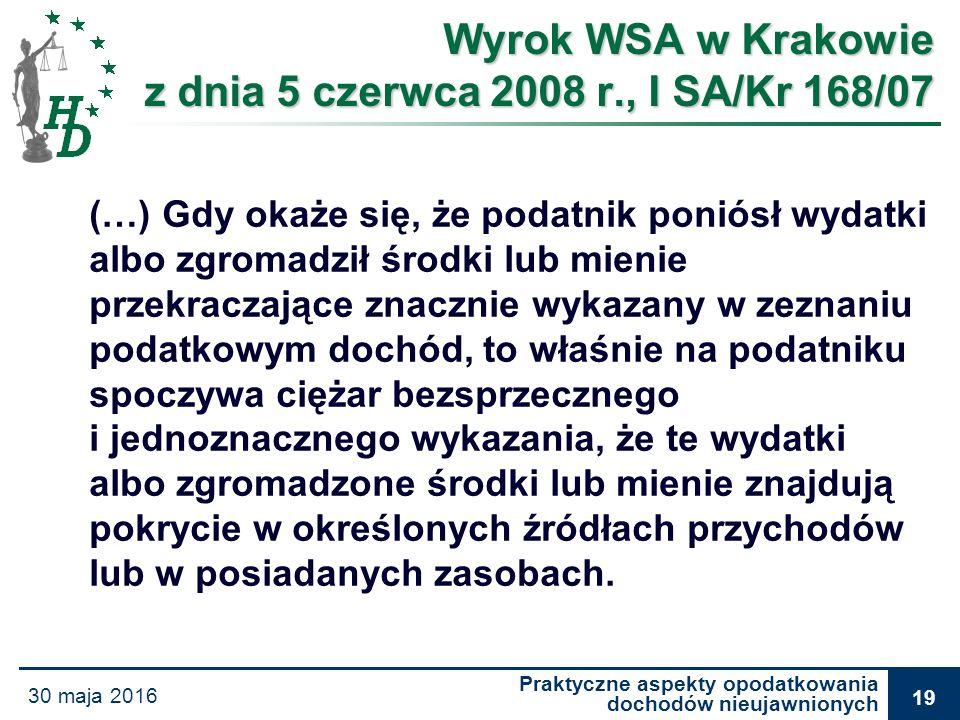 Praktyczne aspekty opodatkowania dochodów nieujawnionych 30 maja 2016 19 Wyrok WSA w Krakowie z dnia 5 czerwca 2008 r., I SA/Kr 168/07 Wyrok WSA w Kra