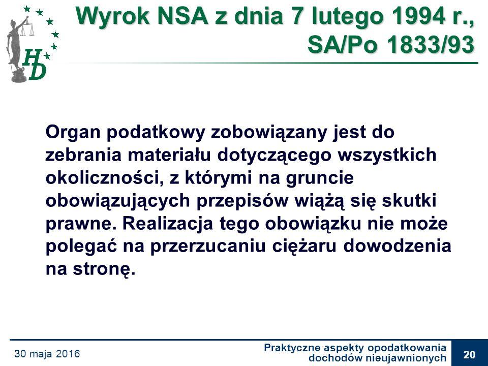 Praktyczne aspekty opodatkowania dochodów nieujawnionych 30 maja 2016 20 Wyrok NSA z dnia 7 lutego 1994 r., SA/Po 1833/93 Organ podatkowy zobowiązany