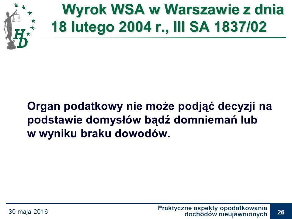 Praktyczne aspekty opodatkowania dochodów nieujawnionych 30 maja 2016 26 Wyrok WSA w Warszawie z dnia 18 lutego 2004 r., III SA 1837/02 Organ podatkow