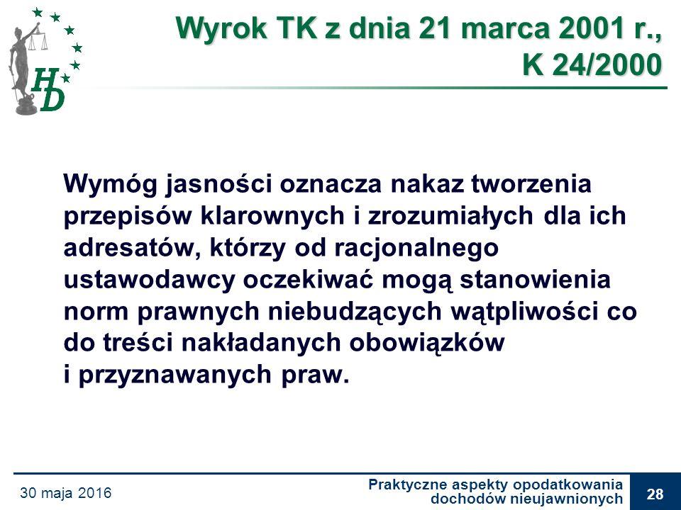 Praktyczne aspekty opodatkowania dochodów nieujawnionych 30 maja 2016 28 Wyrok TK z dnia 21 marca 2001 r., K 24/2000 Wymóg jasności oznacza nakaz twor