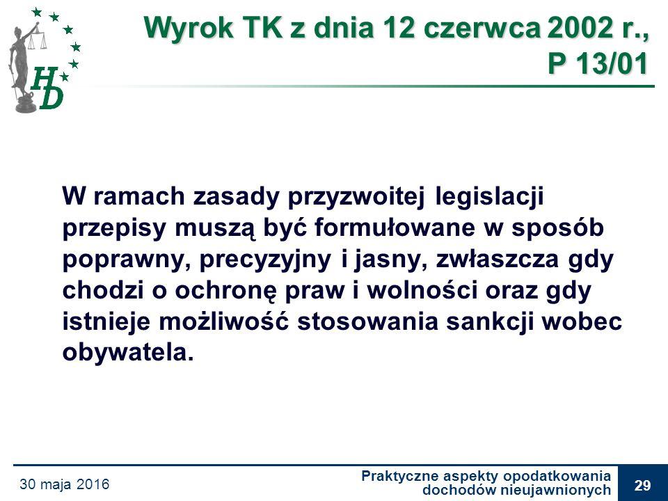 Praktyczne aspekty opodatkowania dochodów nieujawnionych 30 maja 2016 29 Wyrok TK z dnia 12 czerwca 2002 r., P 13/01 W ramach zasady przyzwoitej legis