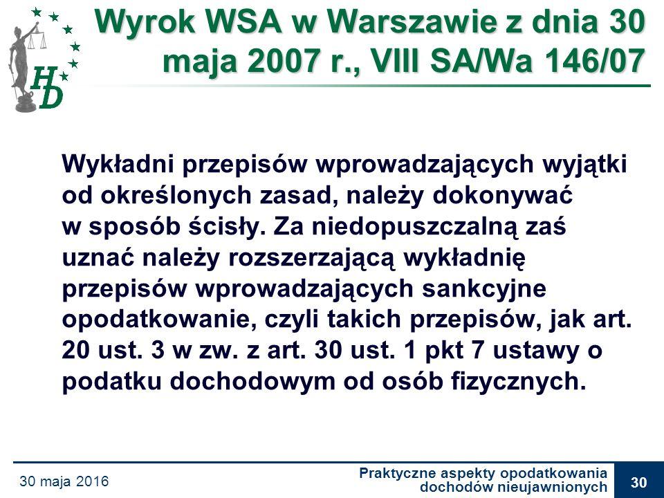 Praktyczne aspekty opodatkowania dochodów nieujawnionych 30 maja 2016 30 Wyrok WSA w Warszawie z dnia 30 maja 2007 r., VIII SA/Wa 146/07 Wykładni prze