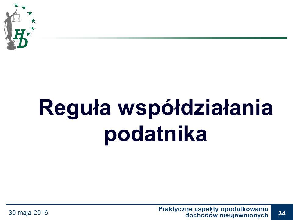 Praktyczne aspekty opodatkowania dochodów nieujawnionych 30 maja 2016 34 Reguła współdziałania podatnika