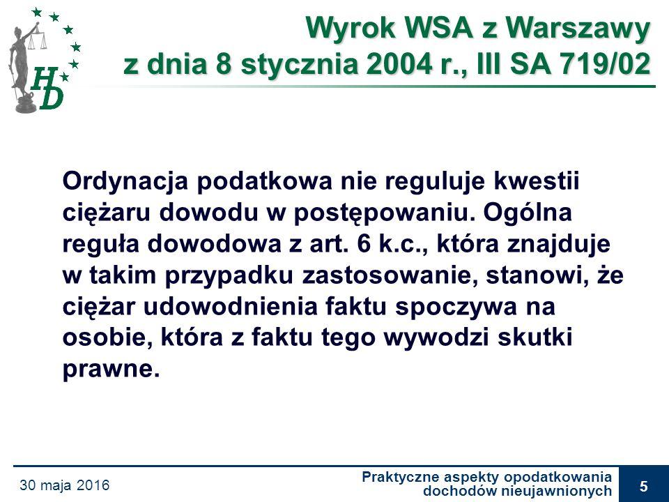 Praktyczne aspekty opodatkowania dochodów nieujawnionych 30 maja 2016 26 Wyrok WSA w Warszawie z dnia 18 lutego 2004 r., III SA 1837/02 Organ podatkowy nie może podjąć decyzji na podstawie domysłów bądź domniemań lub w wyniku braku dowodów.